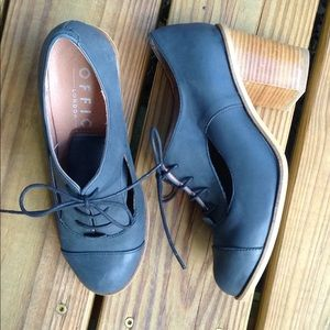 37 Leather Cut Out Oxfords Heels Lace Up Spain
